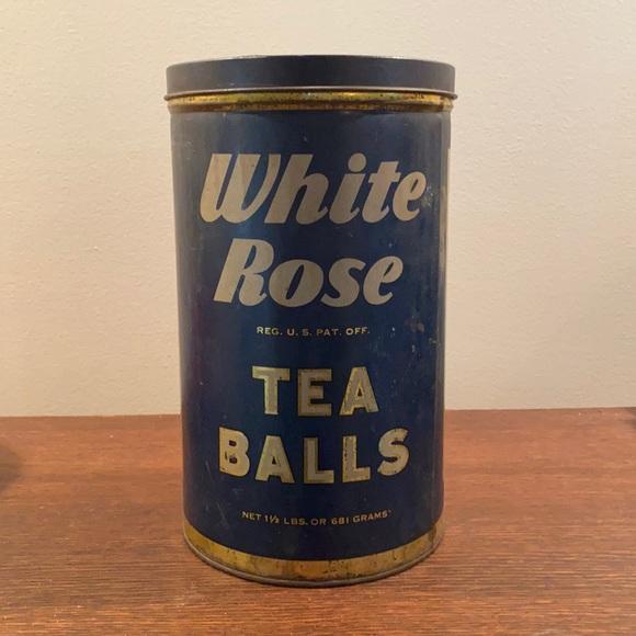 vintage cylindrical white rose tea balls tin 🥀